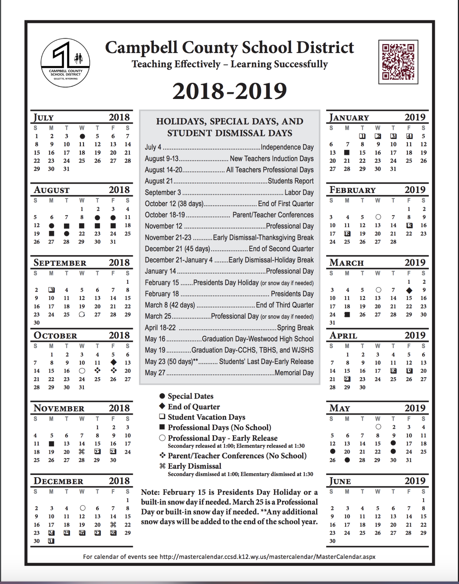 Ccsd Calendar 2021-22 Staff 2018 2019 Staff Calendar / 2018 2019 Staff Calendar (2 Pages)